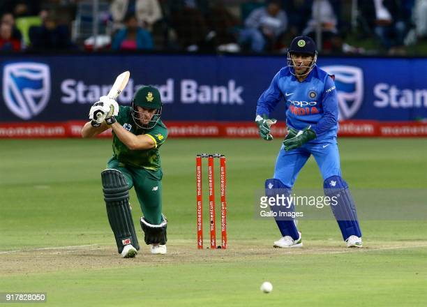 David Miller of South Africa and Mahendra Singh Dhoni of India during the 5th Momentum ODI match between South Africa and India at St Georges Park on...