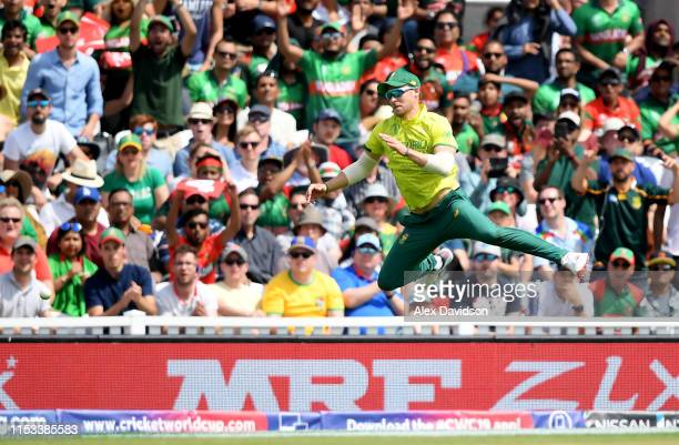 David Miller of South Africa attempts a catch during the Group Stage match of the ICC Cricket World Cup 2019 between South Africa and Bangladesh at...