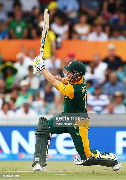 David Miller of South Africa bats during the 2015 ICC Cricket World Cup match between South Africa and Ireland at Manuka Oval on March 3 2015 in...