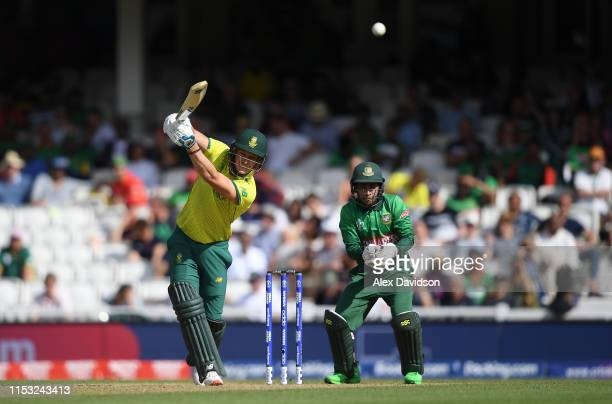 David Miller of South Africa bats during the Group Stage match of the ICC Cricket World Cup 2019 between South Africa and Bangladesh at The Oval on...