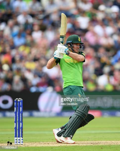 David Miller of South Africa bats during the Group Stage match of the ICC Cricket World Cup 2019 between New Zealand and South Africa at Edgbaston on...