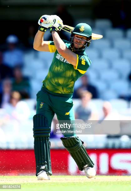David Miller of South Africa bats during the ICC Champions Trophy match between Sri Lanka and South Africa at The Kia Oval on June 3 2017 in London...