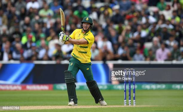 David Miller of South Africa bats during the ICC Champions Trophy match between Pakistan and South Africa at Edgbaston on June 7 2017 in Birmingham...