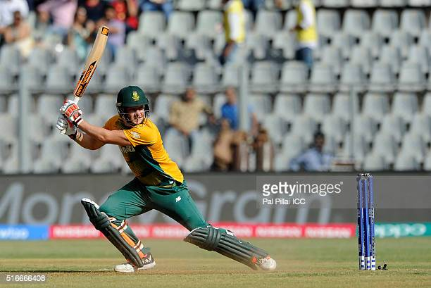 David Miller of South Africa bats during the ICC World Twenty20 India 2016 match between South Africa and Afghanistan at the Wankhede stadium on...