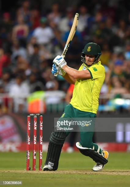 David Miller of South Africa bats during the Second T20 International match between England and South Africa at Kingsmead Stadium on February 14,...