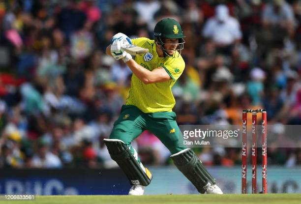 David Miller of South Africa bats during the Third T20 International match between South Africa and England at Supersport Park on February 16, 2020...
