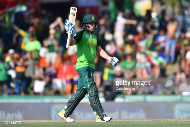 David Miller of South Africa celebrate scoring 50 runs during the 1st ODI match between South Africa and Australia at Eurolux Boland Park on February...