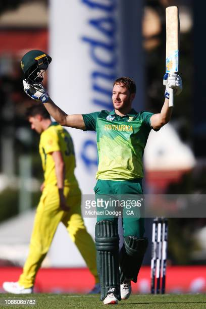 David Miller of South Africa celebrates his century during game three of the One Day International series between Australia and South Africa at...