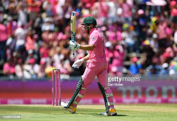 David Miller of South Africa celebrates his half century during the 3rd One Day International match between England and South Africa on February 09,...