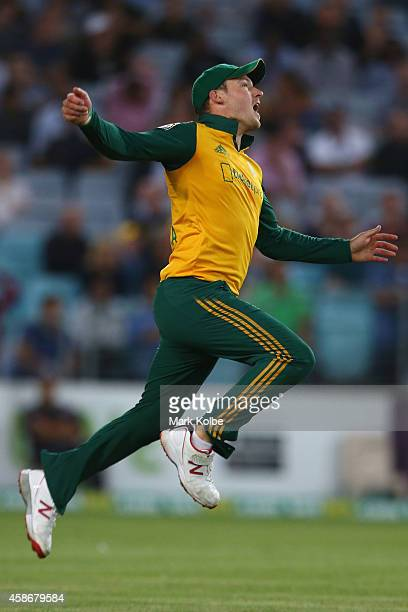 David Miller of South Africa celebrates taking the catch to dismiss Shane Watson of Australia during game three of the Men's International Twenty20...