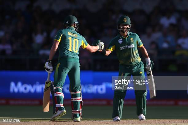David Miller of South Africa congratulates JP Duminy of South Africa for reaching his fifty during the 3rd Momentum ODI match between South Africa...