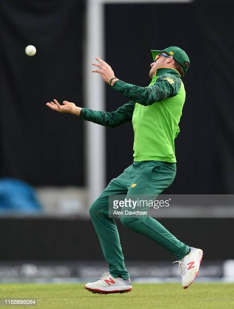 David Miller of South Africa drops Rohit Sharma of India during the Group Stage match of the ICC Cricket World Cup 2019 between South Africa and...