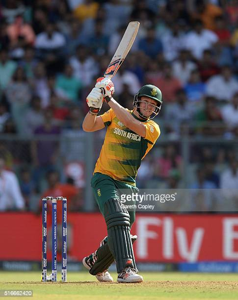David Miller of South Africa hits out for six runs during the ICC World Twenty20 India 2016 Super 10s Group 1 match between South Africa and...