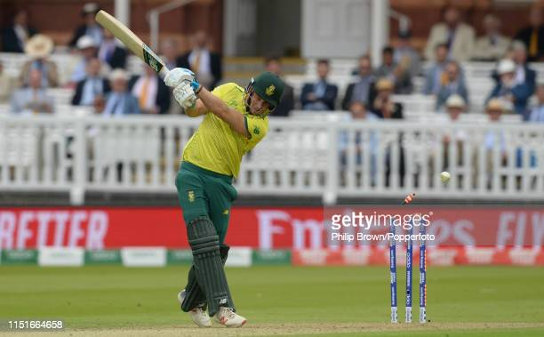 David Miller of South Africa is bowled during the ICC Cricket World Cup Group Match between Pakistan and South Africa a at Lord's on June 23, 2019 in...