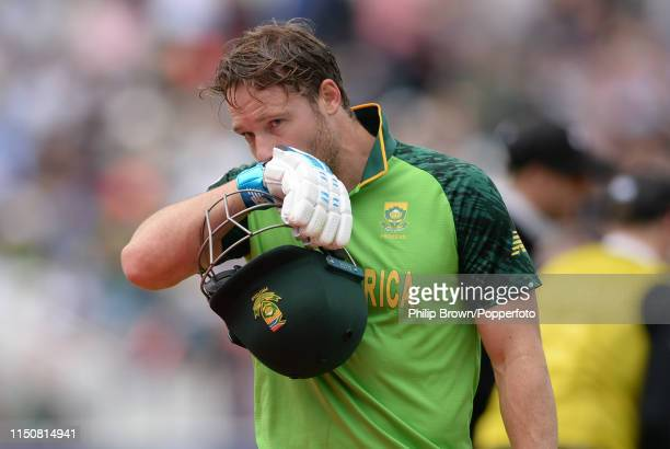 David Miller of South Africa leaves the field after being dismissed during the ICC Cricket World Cup Group Match between New Zealand and South Africa...