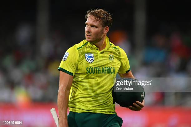 David Miller of South Africa leaves the field dejected after being caught by Chris Jordan of England during the Second T20 International match...