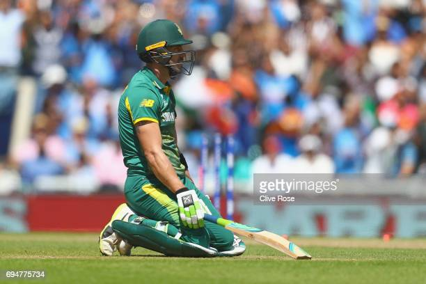 David Miller of South Africa looks on after the running out during the ICC Champions trophy cricket match between India and South Africa at The Oval...