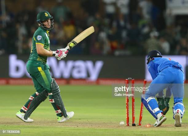 David Miller of South Africa loses his wicket during the 5th Momentum ODI match between South Africa and India at St Georges Park on February 13 2018...