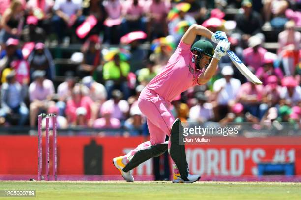 David Miller of South Africa plays a shot during the 3rd One Day International match between England and South Africa on February 09, 2020 in...