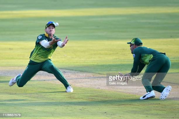 David Miller of South Africa takes the catch for the wicket of Kusal Perera of Sri Lanka during the 2nd Momentum ODI match between South Africa and...