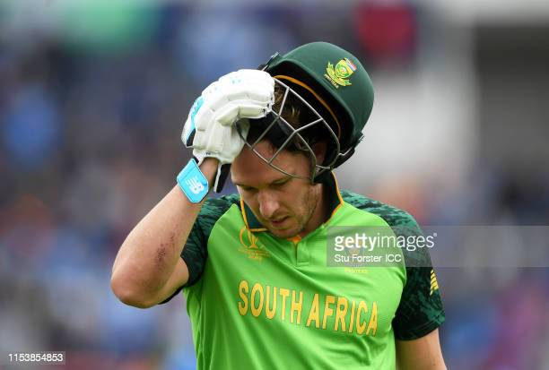 David Miller of South Africa walks off after being dismissed during the Group Stage match of the ICC Cricket World Cup 2019 between South Africa and...