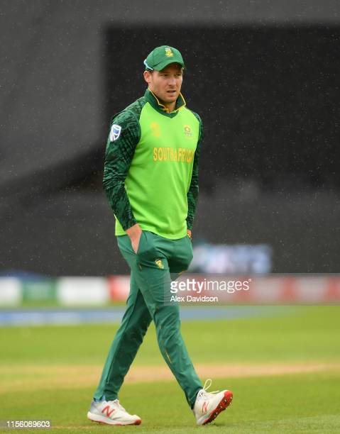 David Miller of South Africa walks off during the rain delay during the Group Stage match of the ICC Cricket World Cup 2019 between South Africa and...