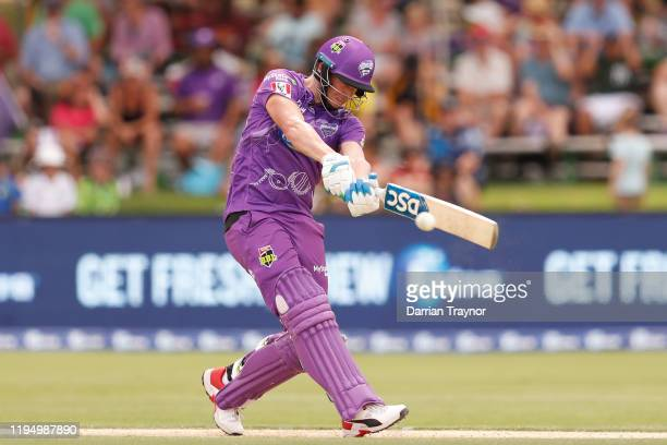 David Miller of the Hurricanes bats during the Big Bash League match between the Hobart Hurricanes and the Sydney Sixers at Traeger Park on December...