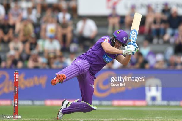 David Miller of the Hurricanes ducks under a short ball during the Big Bash League match between the Hobart Hurricanes and the Adelaide Strikers at...