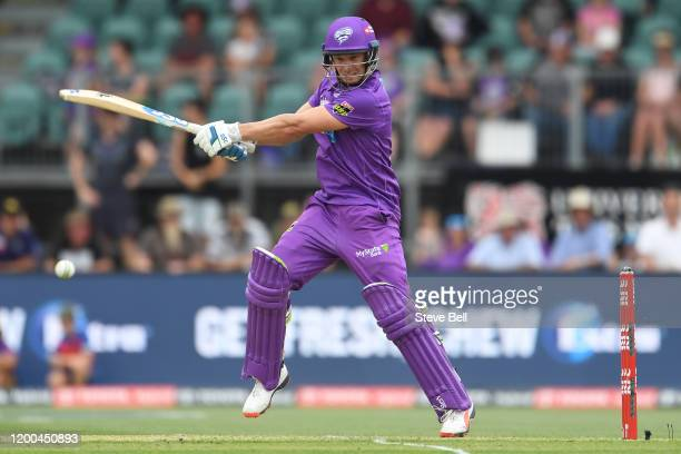 David Miller of the Hurricanes plays a shot during the Big Bash League match between the Hobart Hurricanes and the Adelaide Strikers at the...