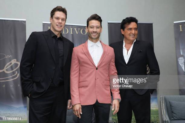 David Miller, Urs Buhler and Carlos Marin of British band Il Divo attend a press conference as part of the Timeless World Tour 15th Anniversary at St...