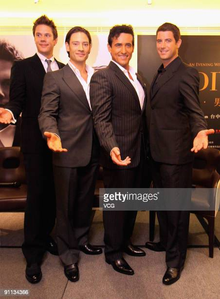 """David Miller, Urs Buhler, Sebastien Izambard and Carlos Marn of """"popera"""" group Il Divo attend a press conference ahead of their concert on September..."""