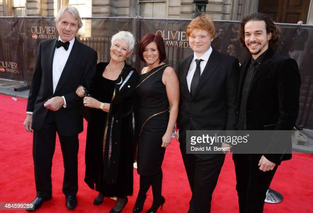 David Mills Dame Judi Dench Finty Williams son Sam Williams and Joseph Timms attend the Laurence Olivier Awards at The Royal Opera House on April 13...