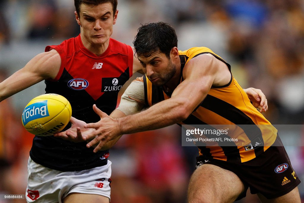David Mirra of the Hawks reaches for the ball during the round four AFL match between the Hawthorn Hawks and the Melbourne Demons at Melbourne Cricket Ground on April 15, 2018 in Melbourne, Australia.