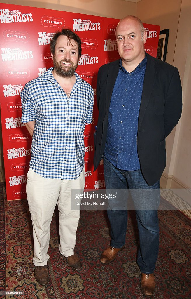 David Mitchell (L) and Dara O'Briain attend an after party following the press night performance of 'The Mentalists' at Kettner's on July 13, 2015 in London, England.