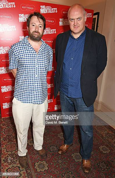 David Mitchell and Dara O'Briain attend an after party following the press night performance of The Mentalists at Kettner's on July 13 2015 in London...