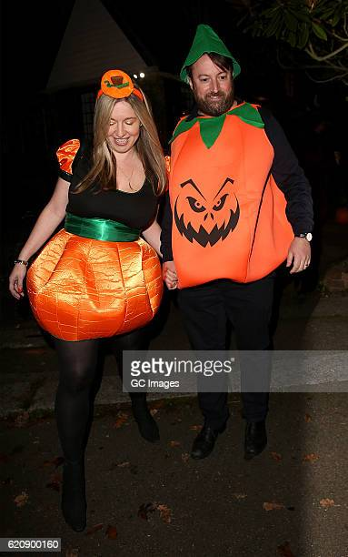 David Mitchell and Victoria Coren Mitchell attends Jonathan Ross's Halloween Party on October 31 2016 in London England