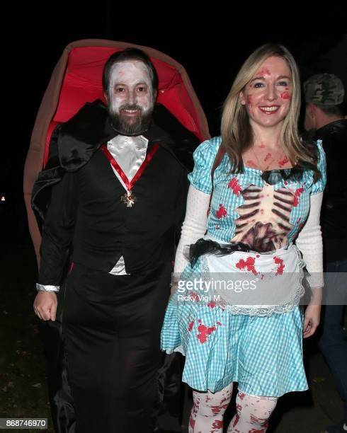 David Mitchell and Victoria Coren Mitchell seen attending Jonathan Ross Halloween party on October 31 2017 in London England