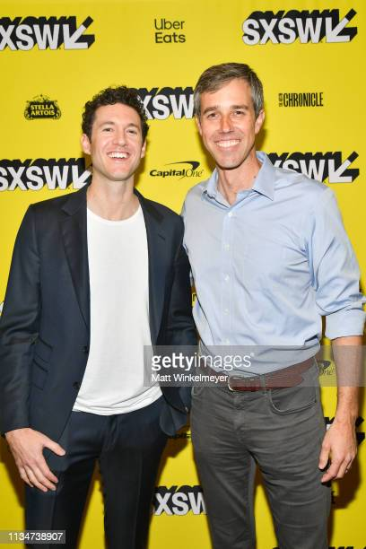 David Modigliani and Beto O'Rourke attend the Running with Beto Premiere 2019 SXSW Conference and Festivals at Paramount Theatre on March 09 2019 in...