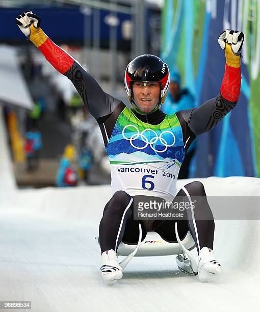 David Moeller of Germany celebrates after finishing the final run of the men's luge singles final on day 3 of the 2010 Winter Olympics at Whistler...