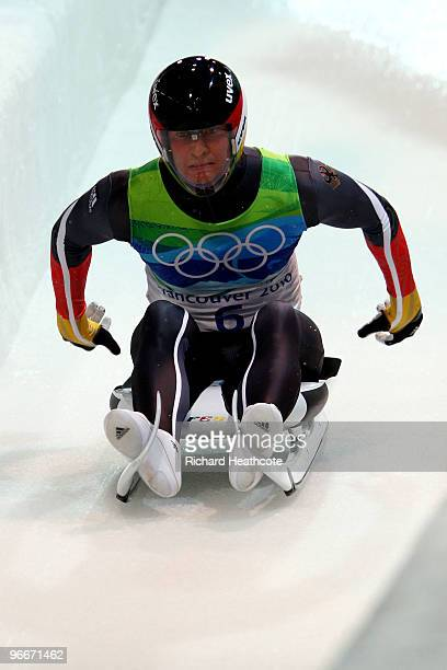 David Moeller of Germany competes during the Luge Men's Singles on day 2 of the 2010 Winter Olympics at Whistler Sliding Centre on February 13 2010...