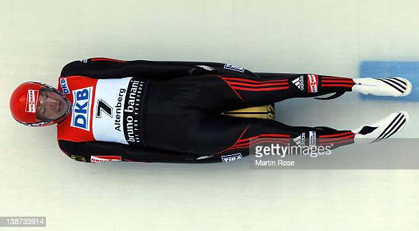 David Moeller of Germany competes during the men's single run in the Luge World Championship on February 11 2012 in Altenberg Germany
