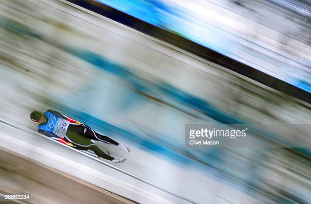 David Moeller of Germany competes in the men's luge singles training during the Luge Men's Singles on day 2 of the 2010 Winter Olympics at Whistler...