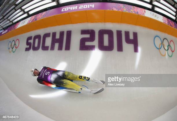 David Moeller of Germany in action during a Men's Singles Luge training session ahead of the Sochi 2014 Winter Olympics at the Sanki Sliding Center...