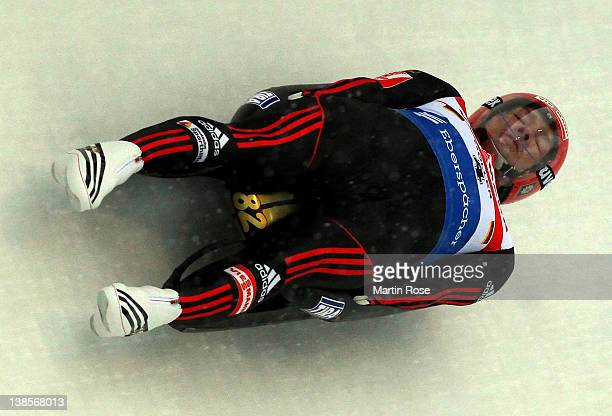 David Moeller of Germany in action during the men's single qualification run in the Luge World Championship on February 9 2012 in Altenberg Germany