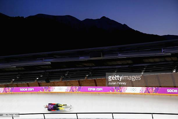 David Moeller of Germany in the Luge during a training session ahead of the Sochi 2014 Winter Olympics at the Sanki Sliding Center on February 7 2014...