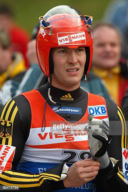 David Moeller of Germany looks on after competing in the World Cup Men's event during the Viessmann Luge World Cup on November 29 2009 in Igls Austria