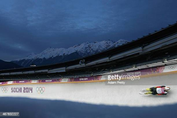 David Moeller of Germany makes a run during the Luge Men's Singles on Day 1 of the Sochi 2014 Winter Olympics at the Sliding Center Sanki on February...
