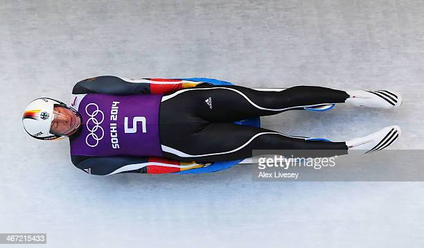 David Moeller of Germany makes a run during the men's luge training session ahead of the Sochi 2014 Winter Olympics at the Sanki Sliding Center on...