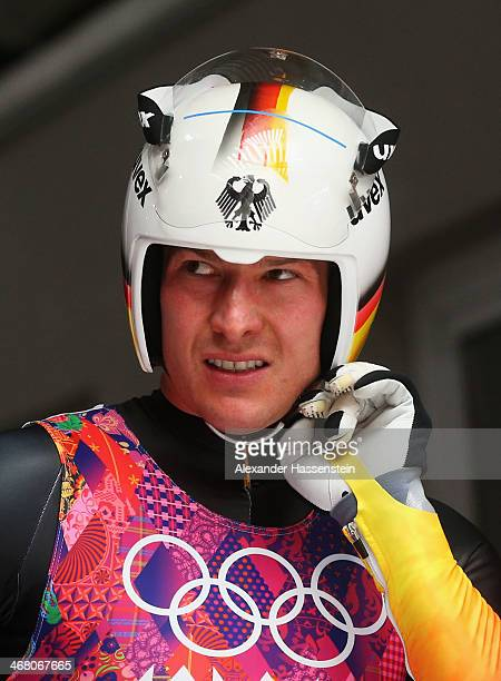 David Moeller of Germany reacts after competing during the Men's Luge Singles on Day 2 of the Sochi 2014 Winter Olympics at Sliding Center Sanki on...