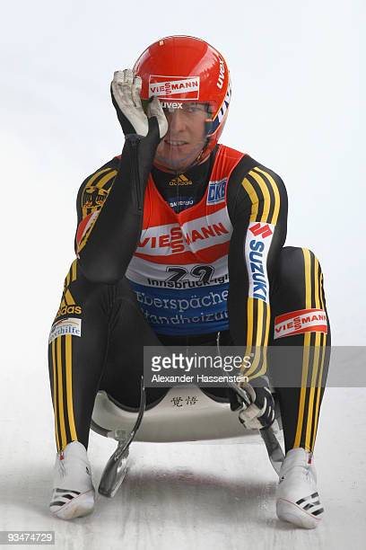 David Moeller of Germany reacts after competing in the World Cup Men's event during the Viessmann Luge World Cup on November 29 2009 in Igls Austria